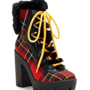 ISO Red Mikah Plaid Print Faux Fur Block-heel